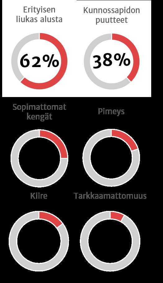 Liukastumisen syyt: 62 % erityisen liukas alusta, 38 % kunnossapidon puutteet, 25 % sopimattomat kengät, 20 % pimeys, 15 % kiire, 8 % tarkkaamattomuus.