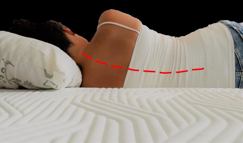 Nainen nukkuu kylkimakuulla liian korkealla tyynyllä