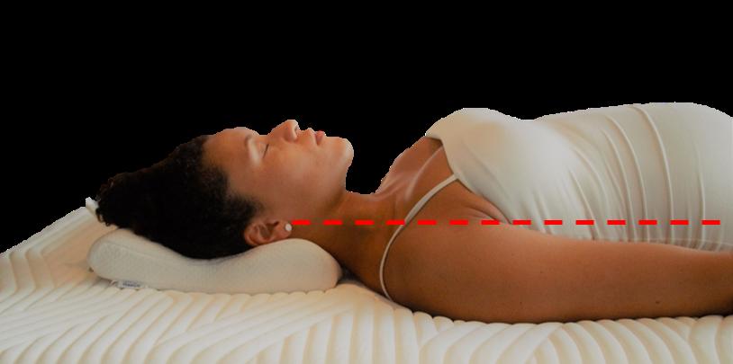 Nainen nukkuu selinmakuulla sopivalla tyynyllä.