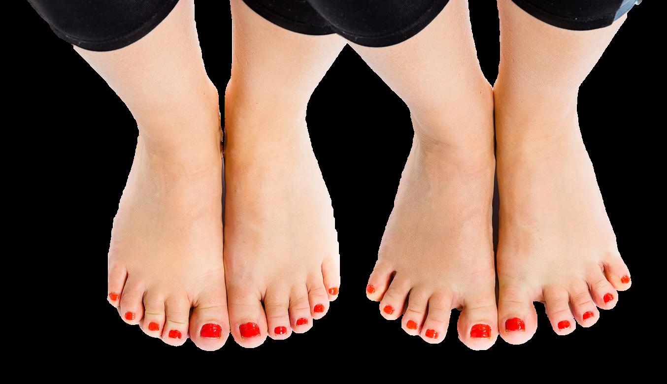 Jalkaterät ensin lepoasennossa, jonka jälkeen varpaat haritettuina mahdollisimman auki