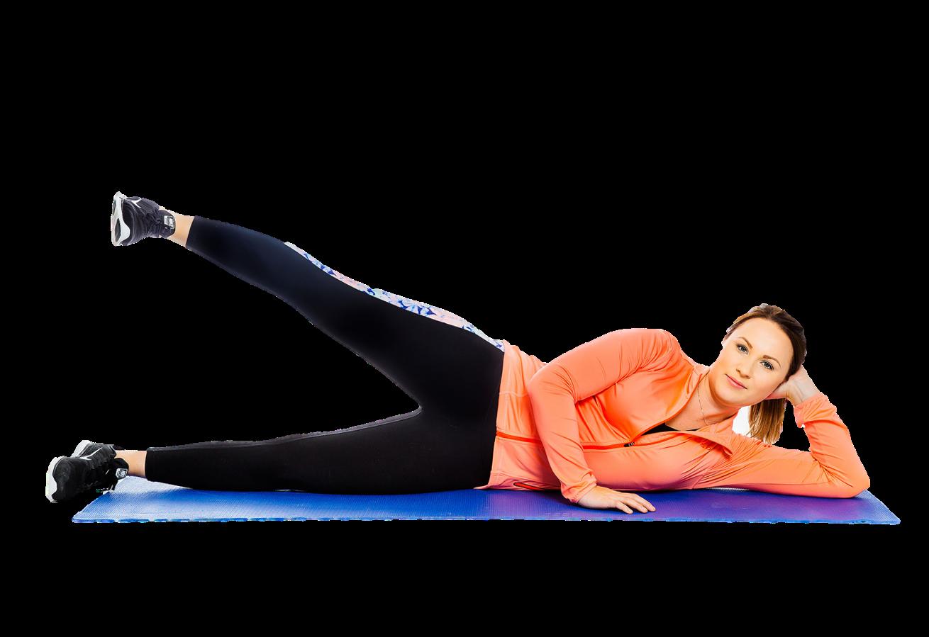 Nainen makaa kylkimakuulla ja nostaa päällimmäistä jalkaa suorana.