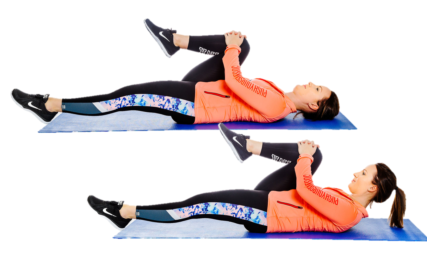 Nainen makaa selinmakuulla ja on nostanut toisen jalan vatsan ylle, jonka jälkeen nostaa vielä pään irti lattiasta.