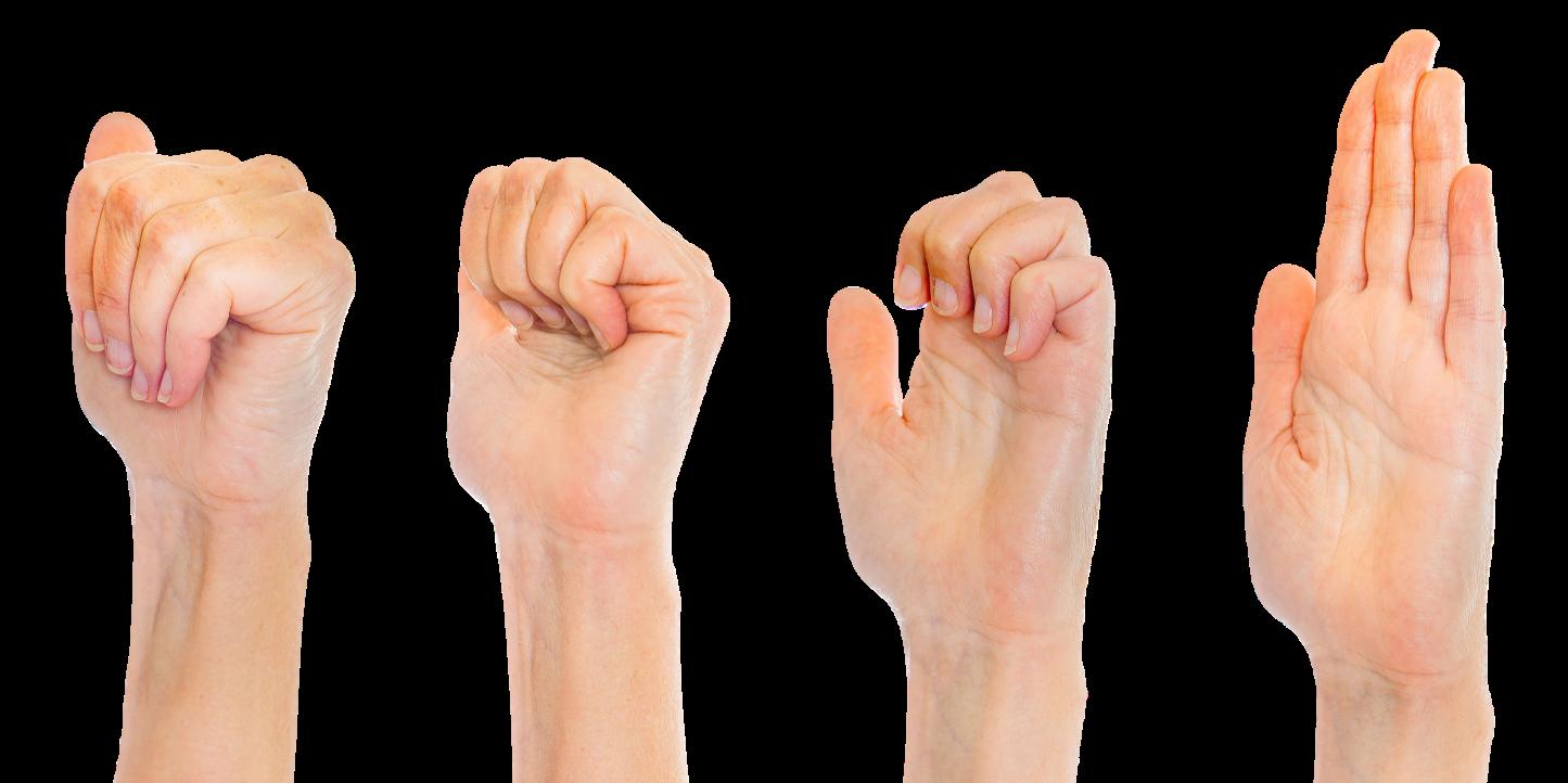 Sormet ensin nyrkissä, jonka jälkeen sormet suoristetaan nivel niveleltä.