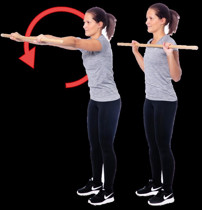 Nainen tekee suurta ympyräliikettä kepillä vartalon edessä.