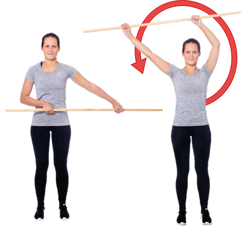 Nainen tekee kepillä ympyrää vartalon etupuolelta sivulta sivulle.
